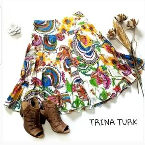 💥 Trina Turk 💥 Bright White Floral Lined Skirt 2